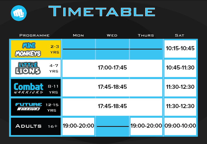 FitRoots Martial Arts Timetable