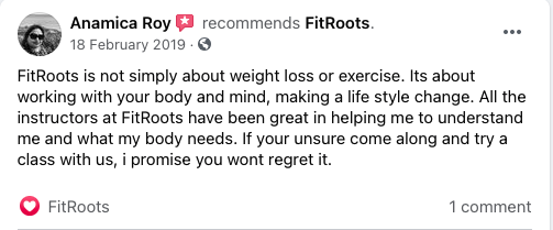 Anamica Roy FitRoots Facebook Review